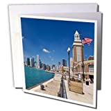 3dRose Chicago skyline from Navy Pier, Illinois - US14 JRE0015 - Joe Restuccia III - Greeting Cards, 6 x 6 inches, set of 12 (gc_90201_2)