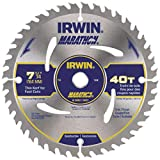 IRWIN 7 1/4'' X 5/8'' Diamond X .047'' 8300 RPM 40 Teeth ATB Grind Vise,Grip Marathon Carbide Tipped Portable Corded Circular Saw Blade (For Wood Cutting) (Carded),5 Each