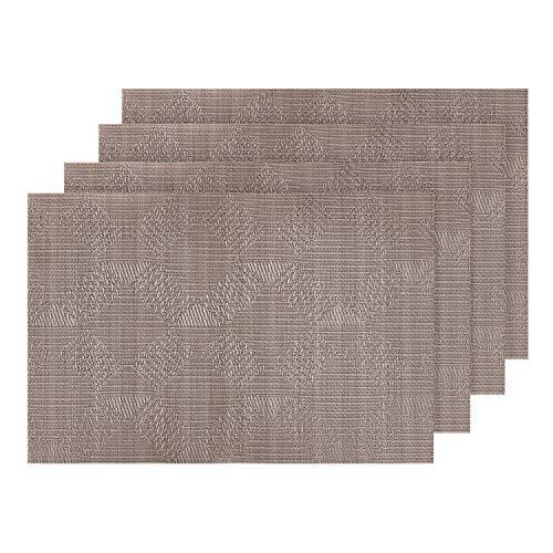 Deconovo PVC Place Mats Washable Table Mats Placemats Woven Vinyl Placemats for Desk Khaki Set of 4 Champagne ()