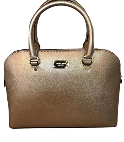 Michael Kors Cindy Large Dome Satchel MK Signature Shoulder Bag Purse Handbag (Pale - Gold Michael Top Kors