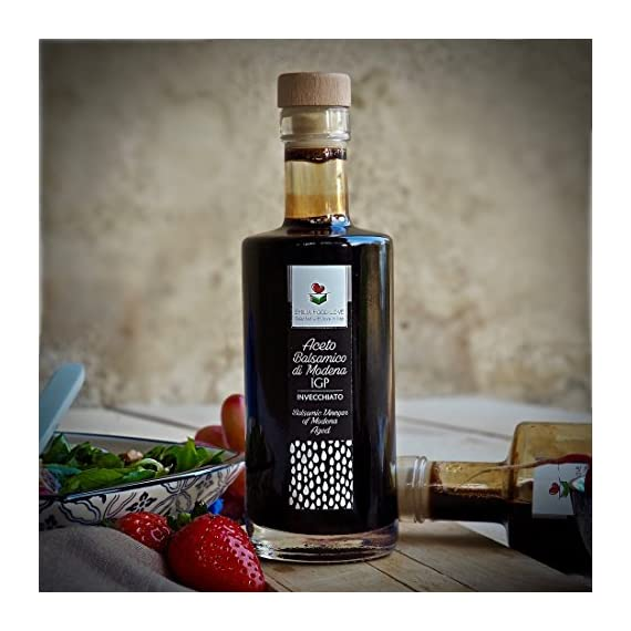Balsamic Vinegar of Modena IGP AGED - Made in Italy - EMILIA FOOD LOVE - Selected with Love in Italy - Aceto Balsamico di Modena IGP Invecchiato 5 No thickeners, added sugar, caramel colour or dyes, artificial flavours or additional ingredients Aged for at least 4 years in wooden barrels - Density 1,3 - Acidity 6% Aging give it a more delicate taste compared to the standard balsamic vinegar of Modena.