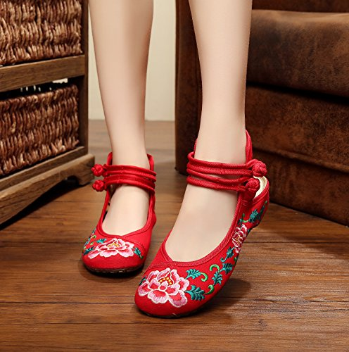 Comodo Modo Desy Tendine Ricamati Red Stile Unico Scarpe Femminili Biancheria Pattini Etnico Sandali CTRCqwBa