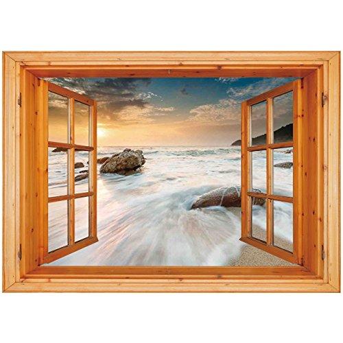 (3D Depth Illusion Vinyl Wall Decal Sticker [ Seaside Decor,Grand Sea Waves on the Beach and Horizon Sky Holiday Calm Dream Light Season Photo,Cream Blue White ] Window Frame Style Home Decor Art Remov)