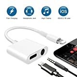 Lightning to 3.5 mm Adapter, 2 in 1 Lightning Audio Adapter, Headphone Jack Adapter for iPhone 7/7 Plus [ Supports iOS 10.3 or later ], Charge & Listen at the Same Time ( Without Phone Answer Function
