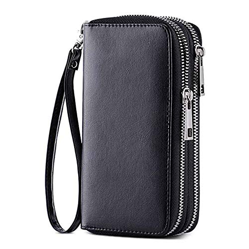 HAWEE Cellphone Wallet Dual Zipper Wristlet Purse with Credit Card Case/Coin Pouch/Smart Phone Pocket Soft Leather for Women or Lady, Black-Shiny ()