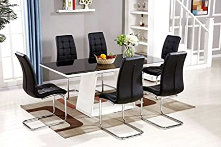 FurnitureboxUK® MURANO Black/White High Gloss Glass Dining Table Set And 6  Leather Chairs
