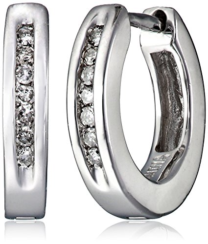 Sterling Silver Channel-Set Diamond Hoop Earrings (1/10 cttw) (0.4″ Diameter)