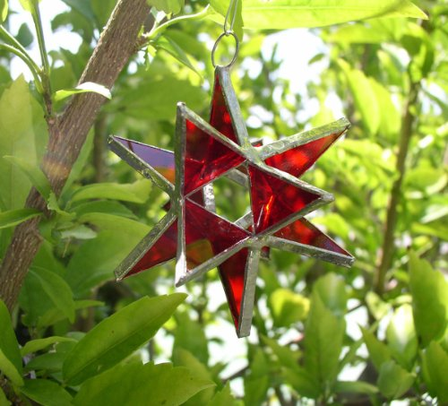 (Handmade Lot of 5 Moravian Stars Iridescent Stained Glass Christmas Ornament Sun Catcher Red)