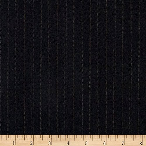 Tuva Textiles Super 120 100% Wool Twill Suiting Stripe Black/Brown Fabric by The Yard