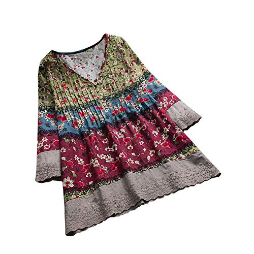 - Aniywn Women Vintage Floral Print Patchwork 3/4 Sleeves Blouses Top V-Neck Plus Size T-Shirt Wine