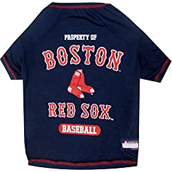 MLB Boston RED SOX Dog T-Shirt, Small. - Licensed Shirt for Pets Team Colored with Team Logos