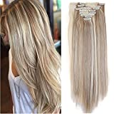 "S-noilite Newest Binary Colour 8PCS/SET Full Head Hair Extensions Real Natural Thick as Human Hair Top Synthetic Hairpiece For Daily Dating Party Wedding (26""-Straight, Sandy Blonde & Bleach Blonde)"