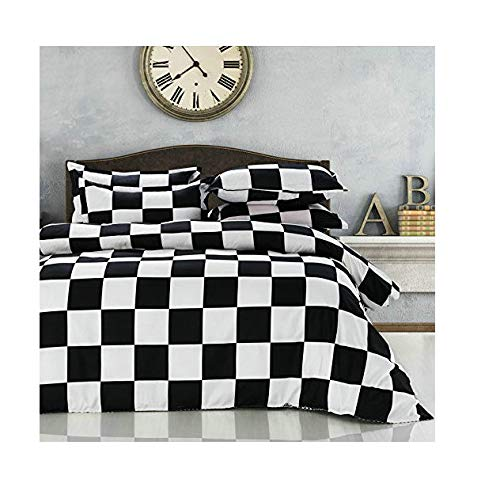 Duvet Cover Set Flat Sheet Pillowcases 4pcs/Set No Comforter LZ Full Sheets Set Size Rose Sea Flower Stripe Checker Design for Adult Children (BW Checker,White, Full, 70