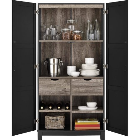 Langley Bay Storage Cabinet with 2Large and 2Small fixed shelves, Plus 2 reversible shelves in Black
