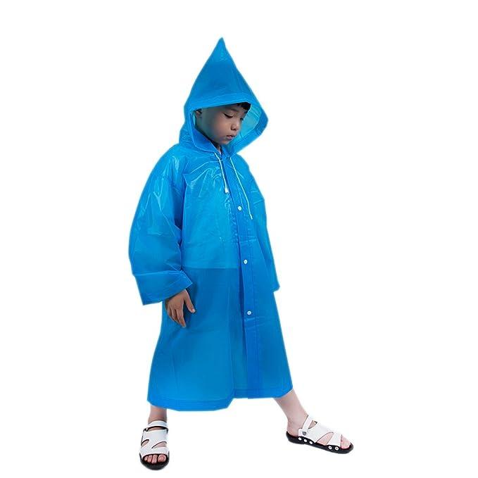 21655b399f iBaste Regenjacke Kinder Jungen Mädchen Regenponcho Regenmantel mit Kapuze  Wasserdicht Regencape Kinder-BU