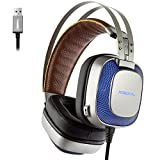Gaming Headphones USB with Mic Gamer Headset for Computer Hi-fi Stereo Headphones Over Ear Noise Cancelling with Colorful Led Lights for PC Gaming