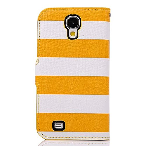 S4 Case,Galaxy S4 Case, Welity Cute Crystal Camellias Yellow Color Stripes Pu Leather Magnetic with wallet Case for Samsung Galaxy S4 i9500 and one gift