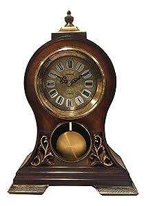 Delightful Elegant, Decorative,grandfather Clock Hand Painted Wood Modern Mantel With  Swinging Pendulum Shelf,tabletop,desk,buffet, Color Mahogany Brown.