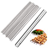 Barbecue Skewers, 100 PCS Stainless Steel Barbecue Skewer BBQ Needle Sticks with Holder for Outings Cooking Tools
