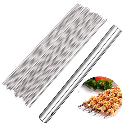 Barbecue Skewers, 100 PCS Stainless Steel Barbecue Skewer BBQ Needle Sticks with Holder for Outings Cooking Tools by MCpinky