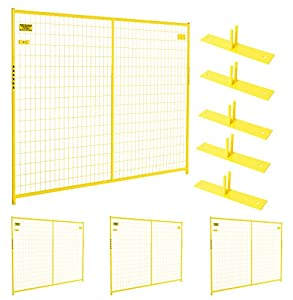 Crowd Control Temporary Fence Panel Kit - Perimeter Patrol Portable Security Fence - Safety Barrier for protecting property, construction sites, outdoor events. 7.5'W x 6'H - 4 Panel Kit Yellow