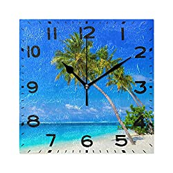 Naanle 3D Beautiful Tropical Sandy Beach Palm Tree Print Square Wall Clock Decorative, 8 Inch Battery Operated Quartz Analog Quiet Desk Clock for Home,Office,School