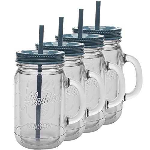 Aladdin 4 Pack 32oz Plastic Mason Jar Set Handled Lidded Tumbler Drinking Cup Mug Glasses & Straws