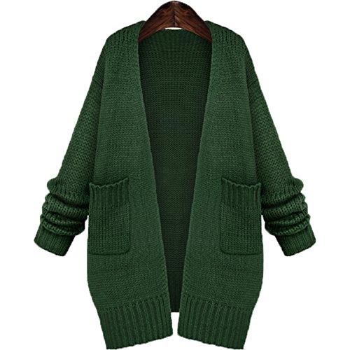 レディース ニット カーディガン ロング コート 長袖 無地 大きいサイズ ゆったり かわいい セーター シンプル デザイン コーディガン (M, グリーン)