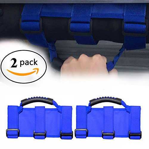 - Payanwin Jeep Wrangler Roll Bar Grab Handles, Heavy Duty Unlimited Wrangler Roll Bar Strong Durable, 3 Straps Design, Fits 1955-2017 Models JK JKU CJ CJ5 CJ7 YJ TJ (Pack of 2) (Blue)