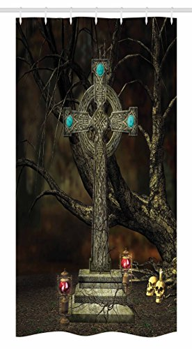 Ambesonne Gothic Stall Shower Curtain, Gothic Cross Tree Grave Skulls and Tombstone Lanterns Graveyard Night Art, Fabric Bathroom Decor Set with Hooks, 36 W x 72 L Inches, Olive Green Aqua ()