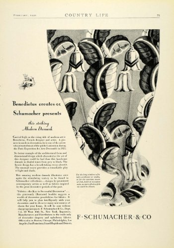 1930 Ad F. Schumacher Damask Fabric Draperies Window Coverings Household Decor - Original Print Ad from PeriodPaper LLC-Collectible Original Print Archive