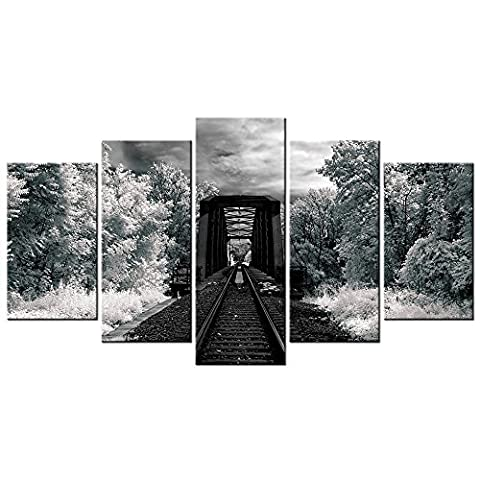 CHARM HOME 5 Piece Wall Art Decor Black&White Train Tracks Modern Painting HD Picture Vintage Retro Canvas Giclee Print Artwork Wall - Rectangle Picture Frame Charms