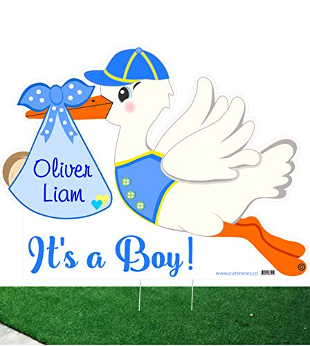 (Outdoor New Baby Yard Sign Kit - Custom It's a Boy Stork and Baby Sleeping Door Hanger - Personalized Newborn Lawn Announcement - Blue Shower Party Decoration - Welcome Home)
