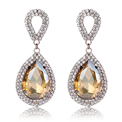 YUXI Crystal Drop Earrings Dangle Wedding Teardrop Rhinestone Chandelier Earring for Women Jewelry