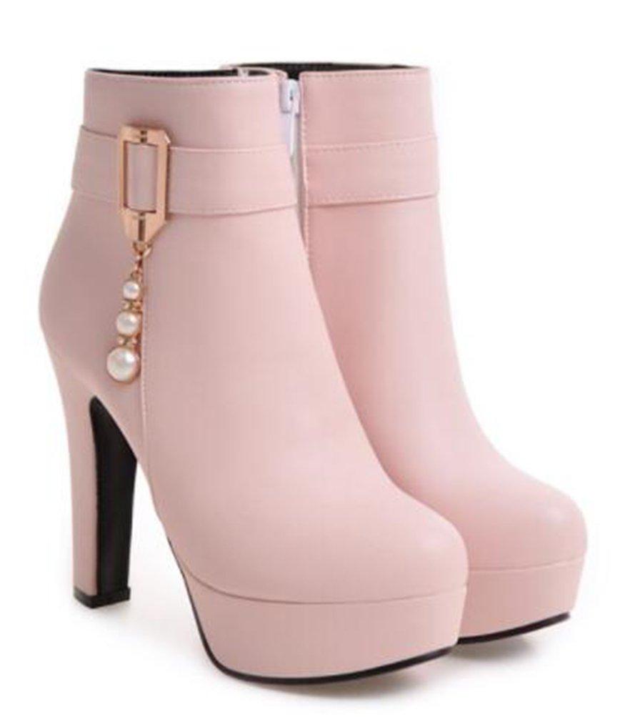 Easemax Damen Elegant Hohe Plateau Metall Quaste Künstliche Perlen Kurz Stiefel Pink 33 EU 5TTceA3qxB