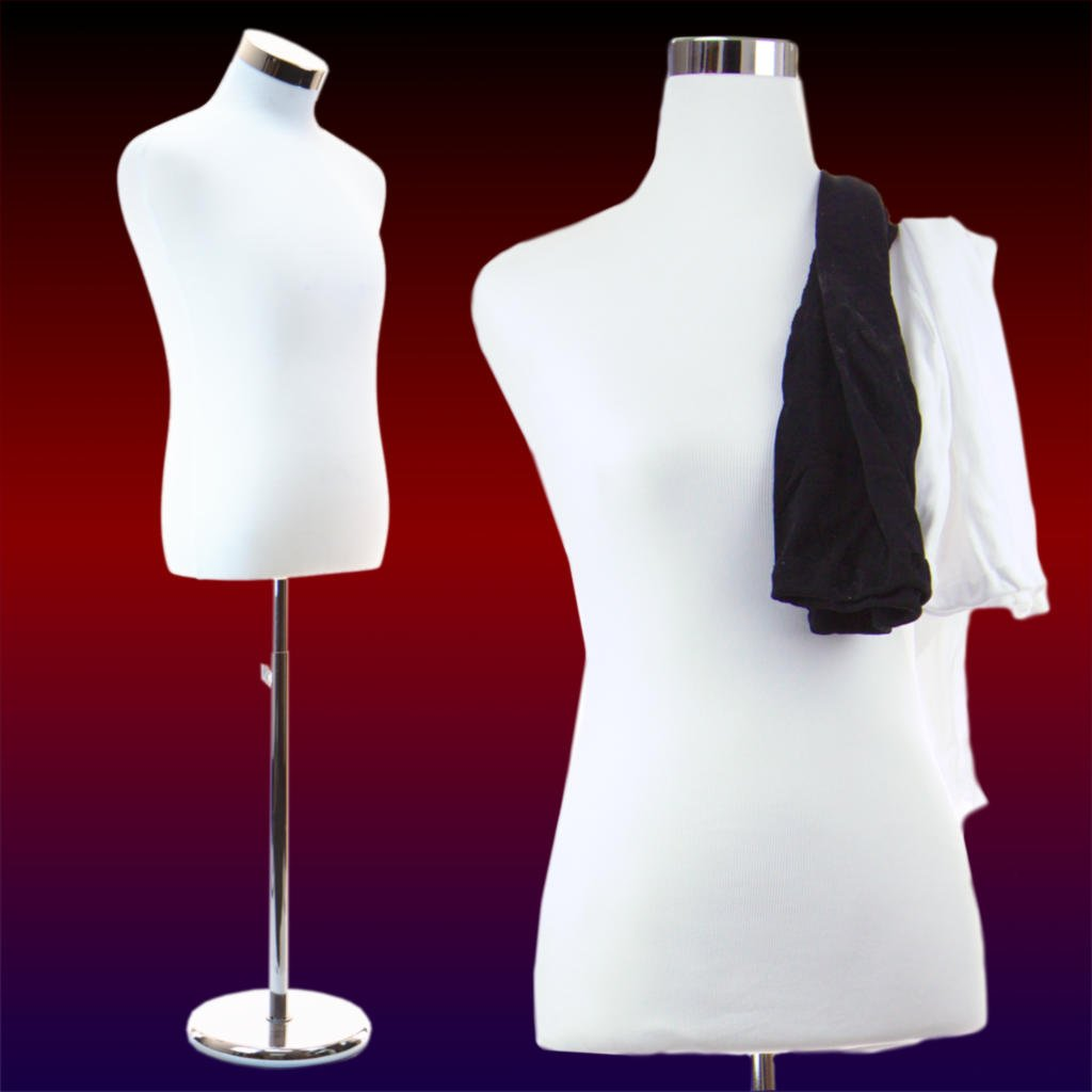 Male Dress Form Torso with Round Metal Stand by AMT Mannequins