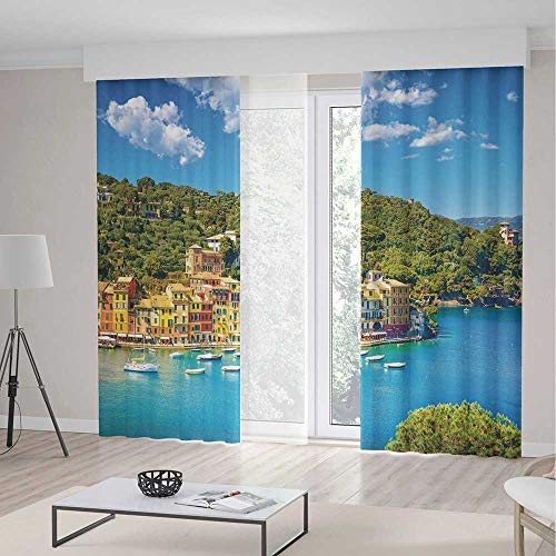 Decor Collection,Italy,for Bedroom Living Dining Room Kids Youth Room,Portofino Landmark Aerial Panoramic View Village and Yacht Little Bay Harbor Decorative,157Wx94L Inches