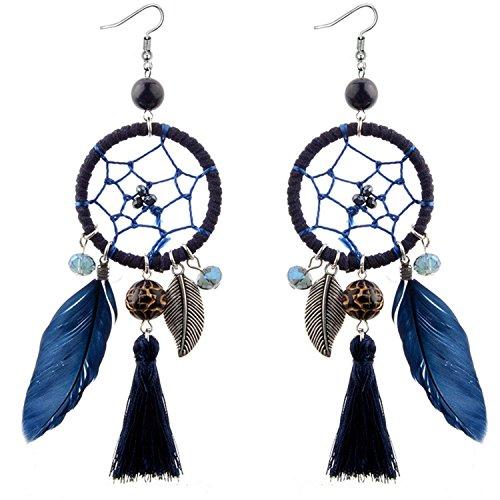 LeNG Fashion Ethnic Wind Wedding Jewelry Bohemian Crystal Beads Leaf Dream Catcher Cotton Tassel Earrings For Women,black by LeNG Earrings (Image #6)
