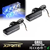 Xprite White & Blue 4 LED 4 Watt Emergency Vehicle Waterproof Surface Mount Deck Dash Grille Strobe Light Warning Police Light Head with Clear Lens - 2 Pack