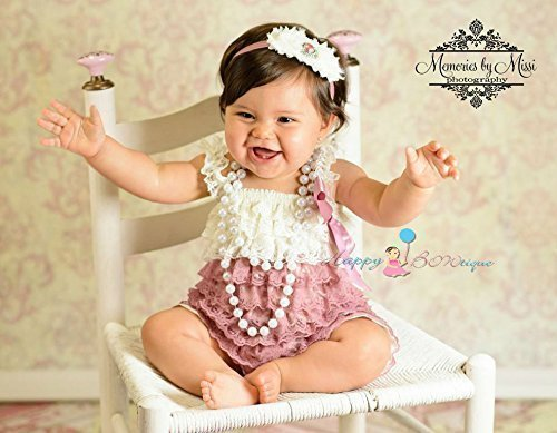 2pcs Dusty Ivory Rose Petti Lace Romper Set w Extra Headband, Baby Girl Dusty Rose Romper, Girl 1st Birthday Outfit -