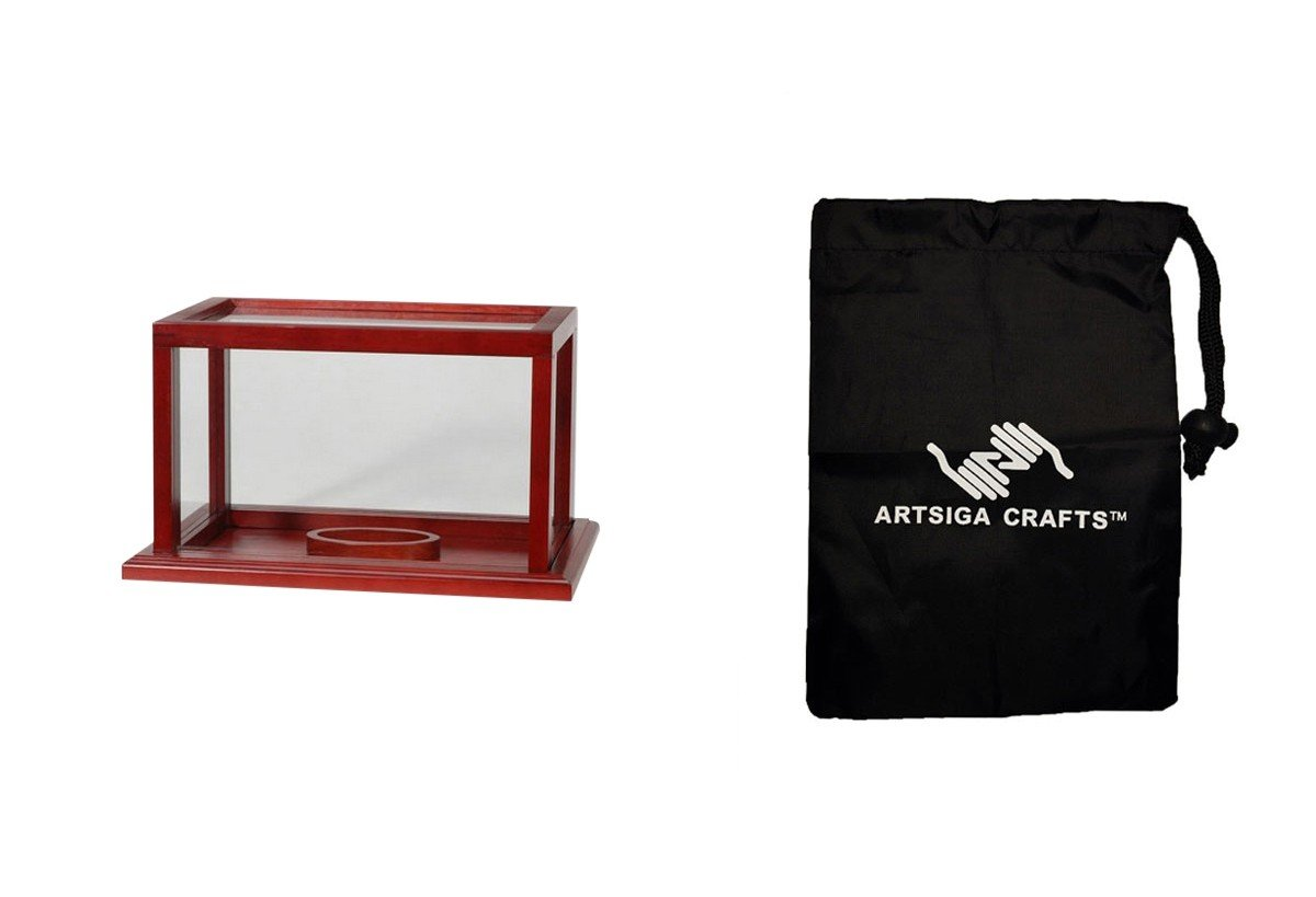 Darice Display Case Sports Football Case Mahogany 8 X 12 X 8in. (1 Pack) HT 6777FM Bundle with 1 Artsiga Crafts Small Bag