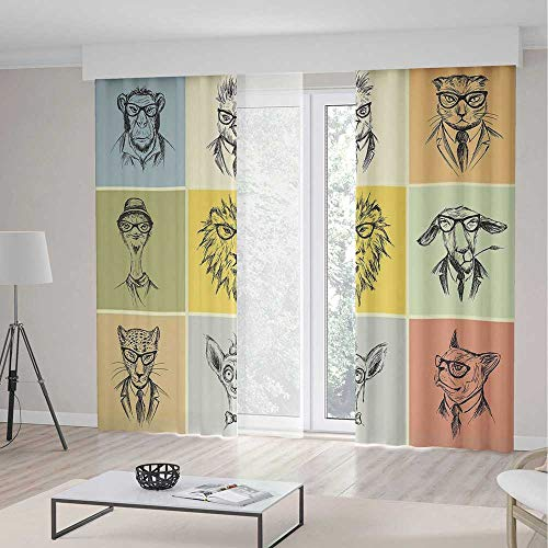Camel Eel (Window Curtains,Modern,Theme Home Decor Dining Room Bedroom Curtains for Kids Room Window Treatments,Hipster Animals Monkey Camel Cat Lion Goat Tiger Business Man Glasses Illustration,2 Panel Set,104