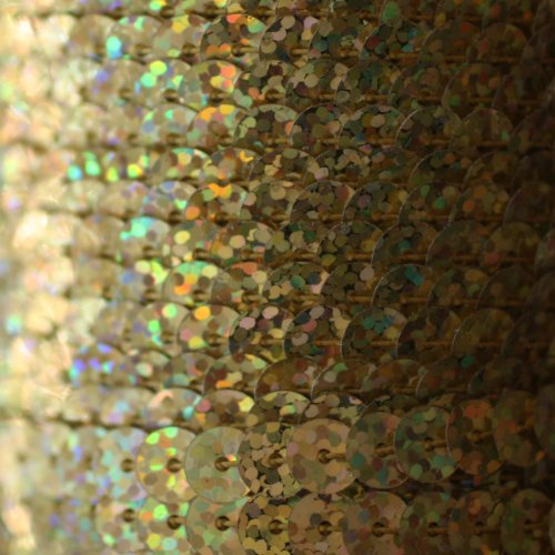 6mm FLAT SEQUIN TRIM strung by the yard ~ GOLD HOLOGRAM LASER ~ Made in USA ~ Flat, stitched sequin string for embroidery, applique, arts, crafts, bridal wear, embellishment. 15 feet per pack.