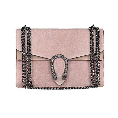 RACHEL Italian Baguette cross body bag with nickel chain smooth stiff leather and suede (nude)