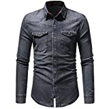 PASATO Classic Men's Autumn Winter Vintage Distressed Solid Denim Long Sleeve T-Shirt Top Blouse Clearance Sale(Gray, M=US:S)