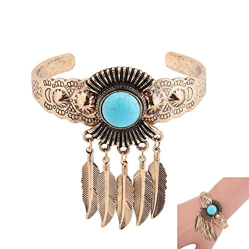 iLoveCos Turquoise Bracelet Gold 1920s Accessories Flapper Costume for Women Roaring 20's (1920s Gangster Fashion)