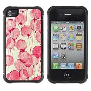 Híbridos estuche rígido plástico de protección con soporte para el Apple iPhone 4 / 4S - flowers pink watercolor yellow