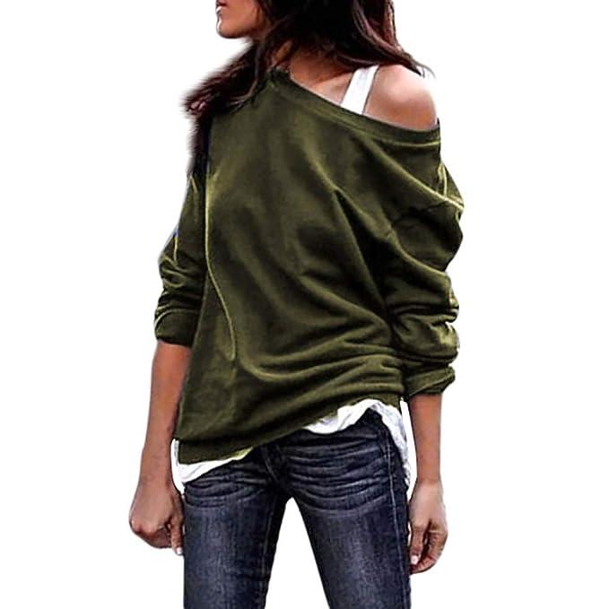 ZODOF Camiseta Blusa de Manga Larga con Cuello Redondo para Mujer Blusas de Fiesta Camisetas Mujer Originales Jerseys Suéter: Amazon.es: Ropa y accesorios