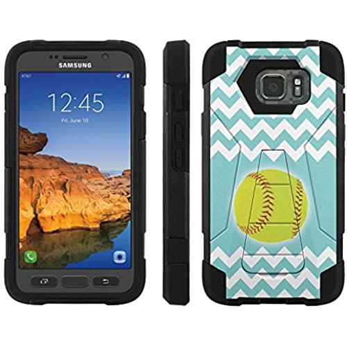 AT&T [Galaxy S7 Active] ShockProof Case [ArmorXtreme] [Black/Black] Hybrid Defender [Kickstand] - [SoftBall Teal Chevron] for Samsung Galaxy [S7 Active] Sales