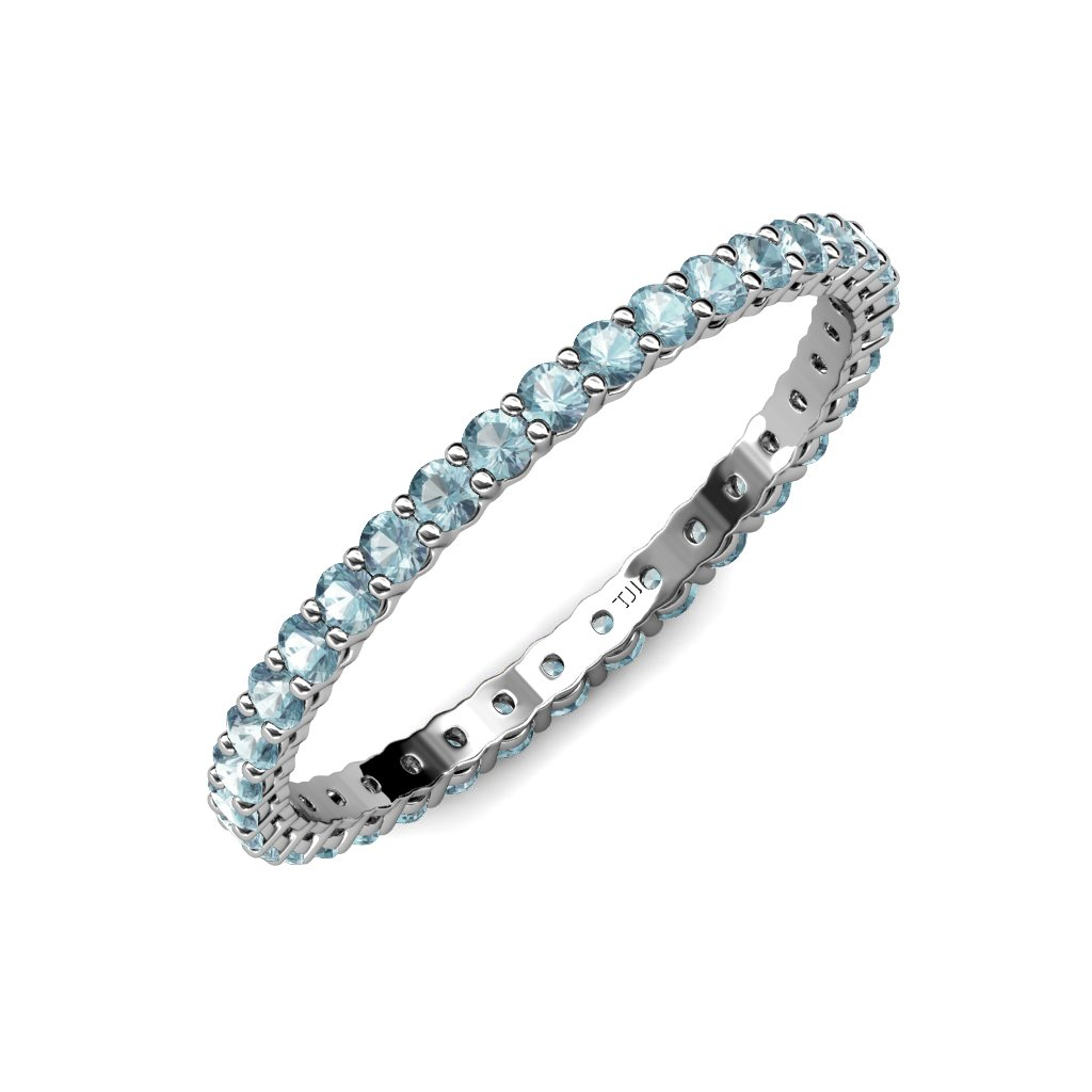 TriJewels Aquamarine 2mm Gallery Womens Eternity Band 0.57 to 0.68 ctw 14K White Gold.size 6.5 by trijewels